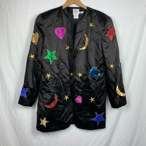 Vintage Sequined Heart Moon and Star Blazer